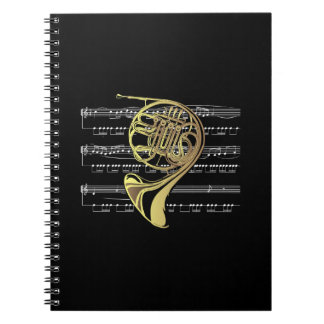 French Horn w/Sheet Music ~ Black Background Spiral Notebook