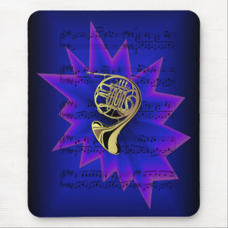 French Horn with Nightfall Background Mouse Pad