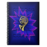 French Horn with Nightfall Background Spiral Notebooks