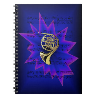 French Horn with Nightfall Background Spiral Notebook