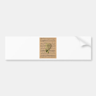 French Horn ~ With Sheet Music Background Bumper Sticker
