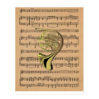 French Horn ~ With Sheet Music Background Postcard