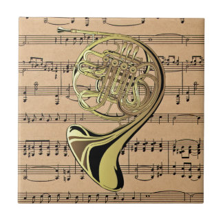 French Horn ~ With Sheet Music Background Tile