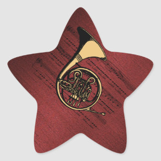 French Horn with Sheet Music ~ Burgundy Sand Star Sticker