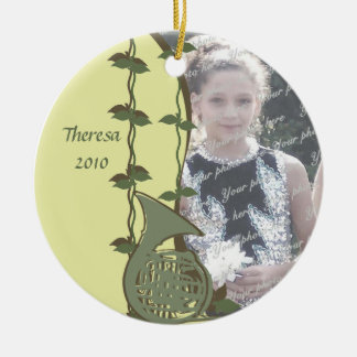 French Horn Woodland Photo Ceramic Ornament