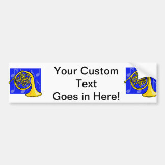 French Horn, Yellow, With Blue Notes Back Bumper Sticker