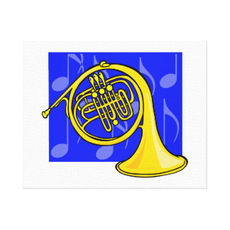 French Horn, Yellow, With Blue Notes Back Canvas Print