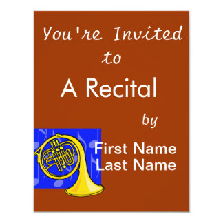 French Horn, Yellow, With Blue Notes Back Card