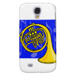 French Horn, Yellow, With Blue Notes Back Galaxy S4 Covers