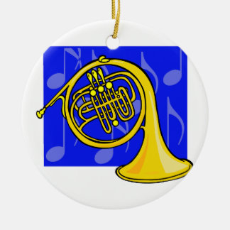 French Horn, Yellow, With Blue Notes Back Ceramic Ornament