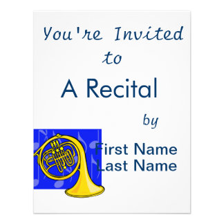 French Horn Yellow With Blue Notes Back Personalized Invites