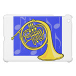 French Horn, Yellow, With Blue Notes Back iPad Mini Cover