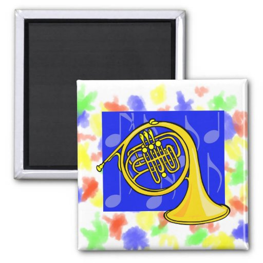 French Horn, Yellow, With Blue Notes Back Refrigerator Magnet