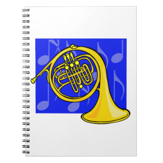French Horn, Yellow, With Blue Notes Back Notebook