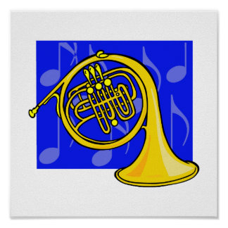 French Horn, Yellow, With Blue Notes Back Poster