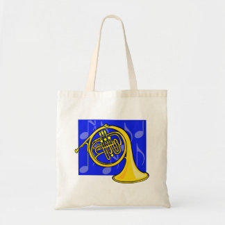 French Horn, Yellow, With Blue Notes Back Tote Bag