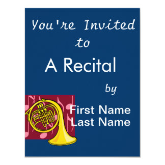 French Horn, Yellow, With Burgundy Notes Back Card