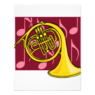 French Horn Yellow With Burgundy Notes Back Personalized Announcement