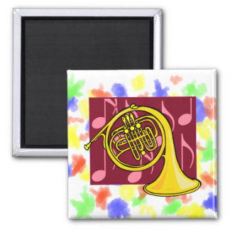French Horn, Yellow, With Burgundy Notes Back Refrigerator Magnets