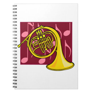 French Horn, Yellow, With Burgundy Notes Back Notebook