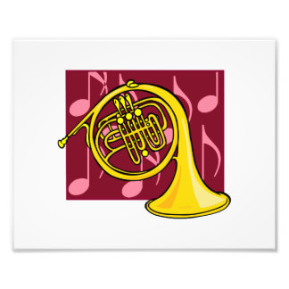French Horn, Yellow, With Burgundy Notes Back Art Photo