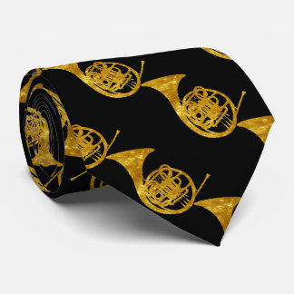 French Horns in Gold Neck Tie