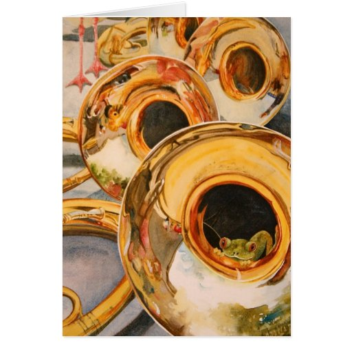 French Horns Musician Funny Frog Escape Artist Greeting Card