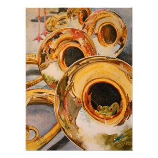 French Horns Musician Funny Frog Escape Artist Print