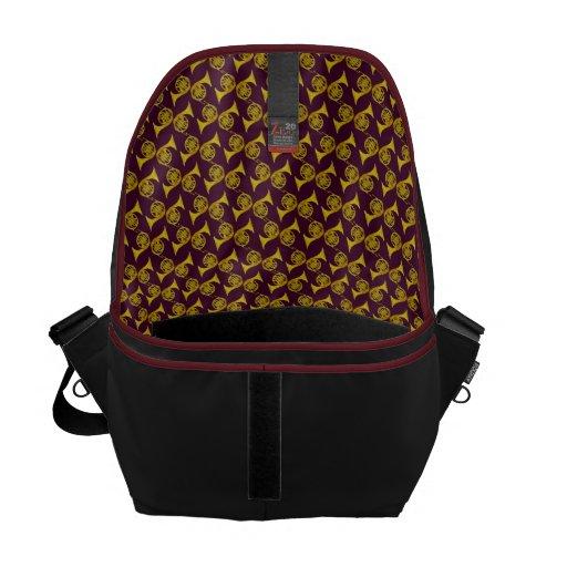 French Horns on Burgundy Interior Commuter Bag