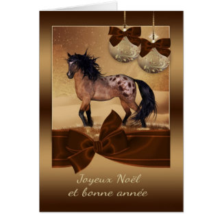 French Horse Christmas Holiday Greeting Card