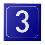 French House Number Ceramic Tile<br><div class='desc'>Patterned after French street signs and address numbers. Narrow white border with reverse circle filets at the corners. Dark blue background. Ceramic number tiles.   You customize with the numbers or letters you need for your ceramic tile or mosaic sign.  Number tile for weather proof signs,  house numbers</div>