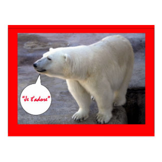 """French """"I Adore You!"""" Polar Bear Products Postcard"""