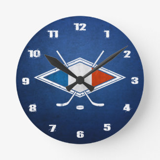 French Ice Hockey Flag Clock, Hockey sur Glace Round Clock