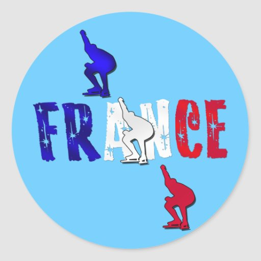 French Ice skaters ice skating stickers