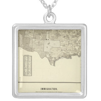 French Immigration Square Pendant Necklace