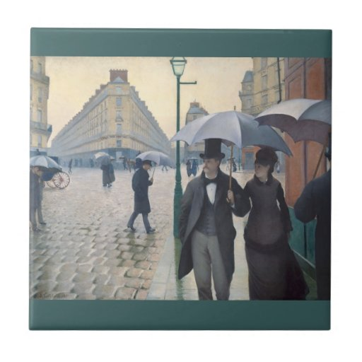 French Impressionism Paris Rainy Day Small Square Tile