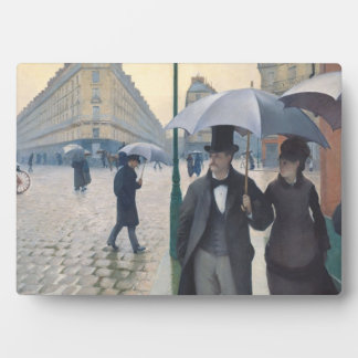 French Impressionism Paris Street Rainy Day Display Plaque