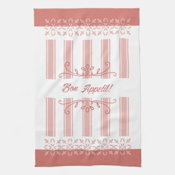 French influence striped damask salmon tea kitchen towel