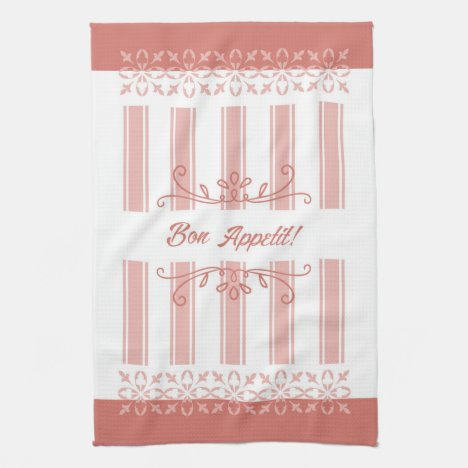 French influence striped damask salmon tea towel