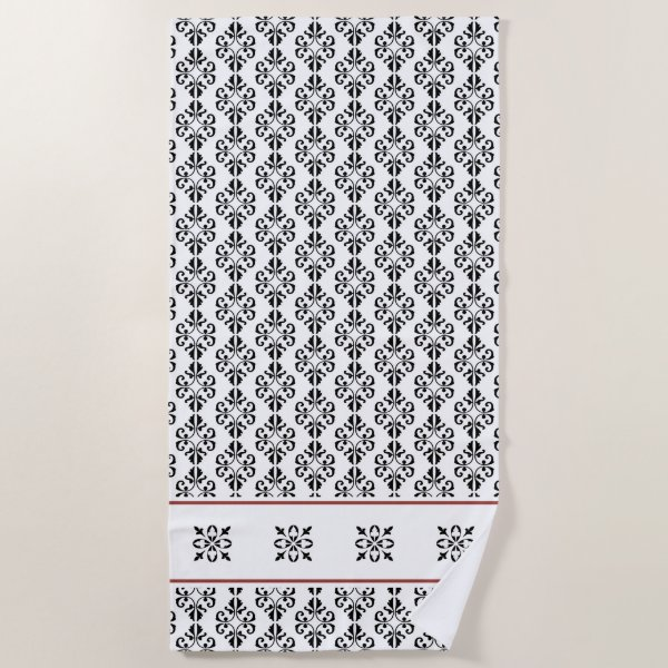 French inspired black and white damask printed beach towel