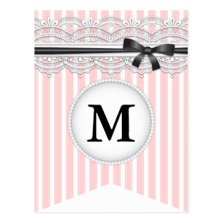 French Inspired Chic Lace Bunting Banner Post Card