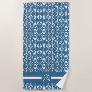 Beach Themed French inspired country blue damask printed beach towel