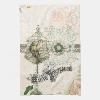 French Inspired Shabby Chic Bird Cage Kitchen Towel