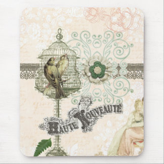 French Inspired Shabby Chic Bird Cage Mouse Pad