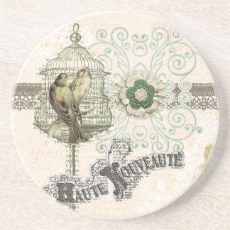 French Inspired Shabby Chic Bird Cage Sandstone Coaster