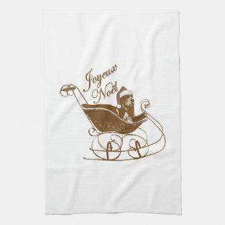 French Joyeux Noel Basset Hound Dog Sleigh X'mas Hand Towels