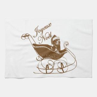 French Joyeux Noel Basset Hound Dog Sleigh X'mas Kitchen Towels