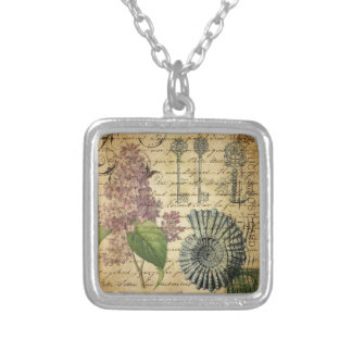 French keys seashell modern vintage French Lilacs Silver Plated Necklace