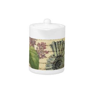 French keys seashell modern vintage French Lilacs Teapot