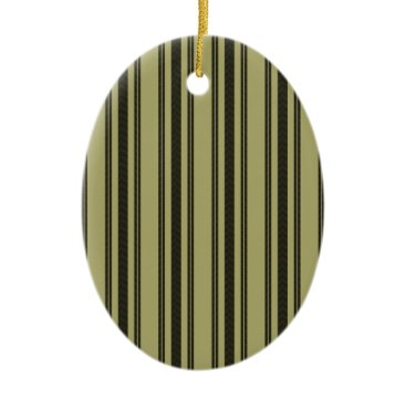 honor_and_obey French Khaki Mattress Ticking Black Double Stripe Ceramic Ornament